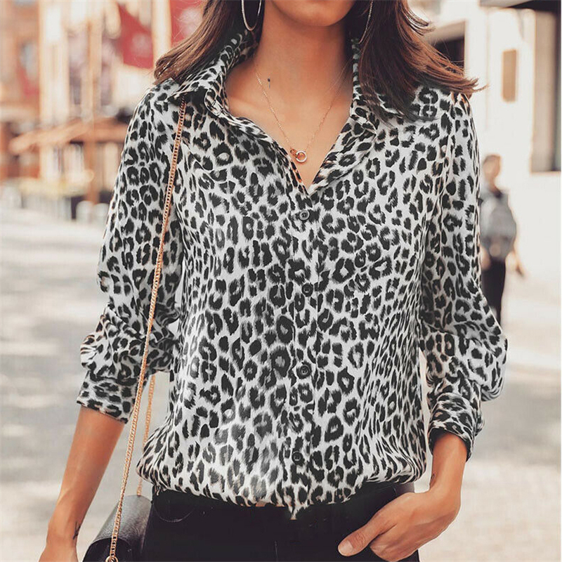 Women Long Sleeve Leopard Print   Blouse   Tops New Office Lady Female Casual Loose   Shirts   OL High Street Ladies   Blouses     Shirt   Top