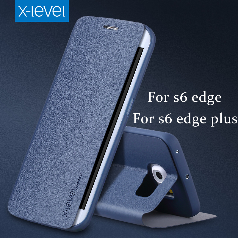 imágenes para X Nivel PU Cuero caso del teléfono Del Tirón Para Samsung Galaxy S6 S6 edge borde más caso
