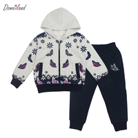 2017 Spring Brand Domeiland Children Clothing Sets Sport Girl Long Sleeve Sweater Hooded Bow Jackets Clothes