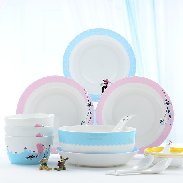 28pcs/set bone china korean dinnerware set bone china tableware plates sets cute cat design kitty ceramic food storage  sc 1 st  Aliexpress & Online Shop 28pcs/set bone china korean dinnerware set bone china ...