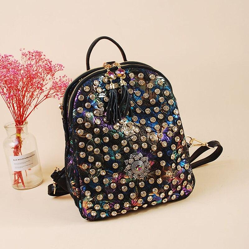2019 de las mujeres de la moda mochilas para Causal bolsas de alta calidad remache mujer bolso de hombro de cuero de la PU de diamantes mochilas para chicas mochila 374-in Mochilas from Maletas y bolsas    1