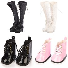 1 Pair New Fashion PU Leather Doll Shoes For Doll Cute Long Boots High Heel Shoe Doll Accessories White Pink Flat Doll Shoes(China)