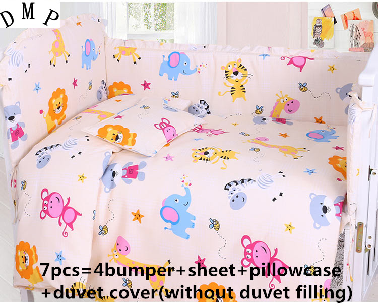 Promotion! 6/7PCS Cartoon Baby Bedding Set crib cot bedding set cunas crib Quilt Cover Bumper ,120*60/120*70cm promotion 6 7pcs cartoon crib baby bedding set baby nursery cot bedding crib bumper quilt cover 120 60 120 70cm