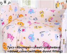 Promotion! 6/7PCS Cartoon Baby Bedding Set crib cot bedding set cunas crib Quilt Cover Bumper ,120*60/120*70cm