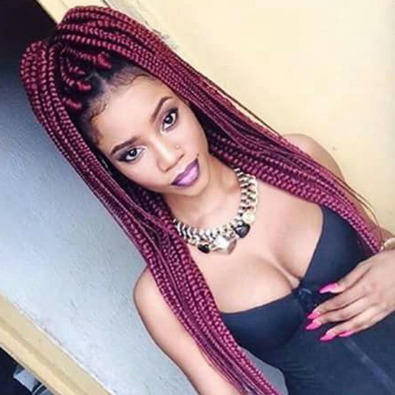 New Color Burgundy Box Braids Hair Heat Resistant Glueless