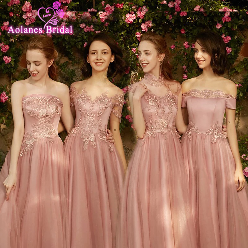 Dusty Pink   Bridesmaid     Dresses   New Styles Sexy Boat Neck Cap Sleeve Applique Embroidery Cheap Prom Party   Dress   Vestido De Noiva