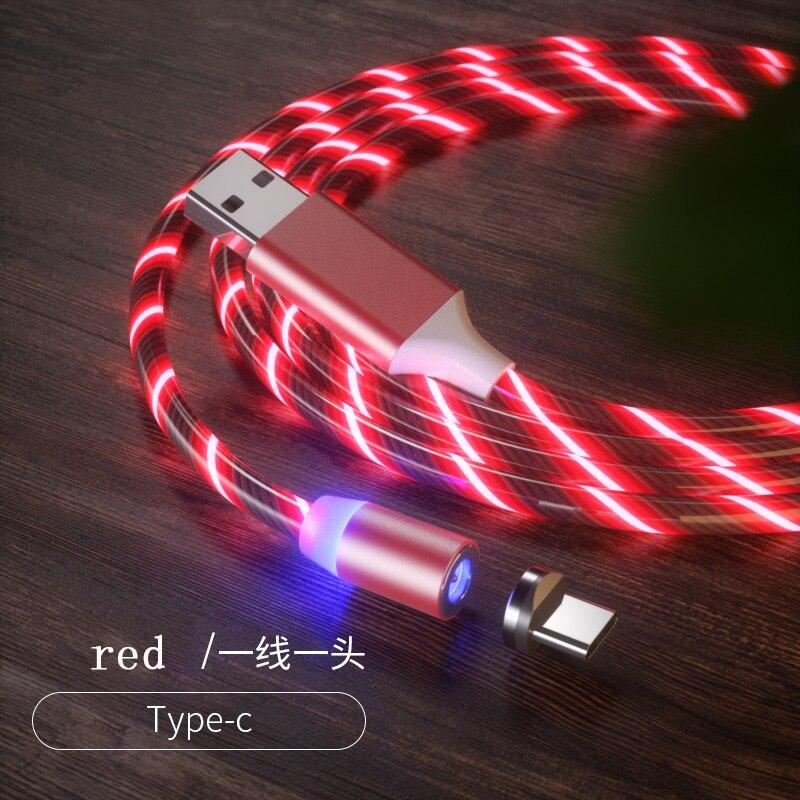 1 м Магнитный зарядный кабель для мобильного телефона, usb type C, светящийся провод для передачи данных для iphone Samaung huawei, светодиодный Micro Kable - Цвет: red for type-c