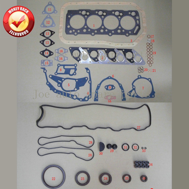 4D56 4D56T Engine Full Gasket Set kit for Mitsubishi Montero/L200/L400/CANTER 2477CC 2.5TD 1986 2003 MD972215 MD997249 M126I37