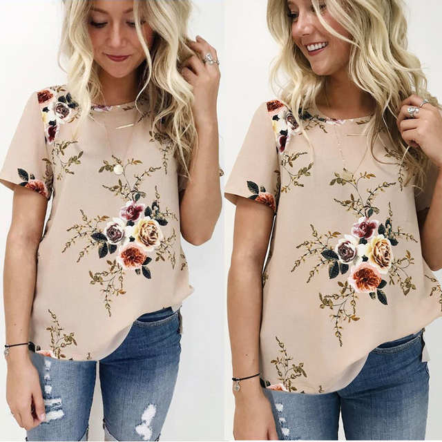 88a50ba3f04c Summer Women Blouse Floral Short Sleeve Ladies Chiffon Loose Casual Tops  Round Neck Khaki White Navy
