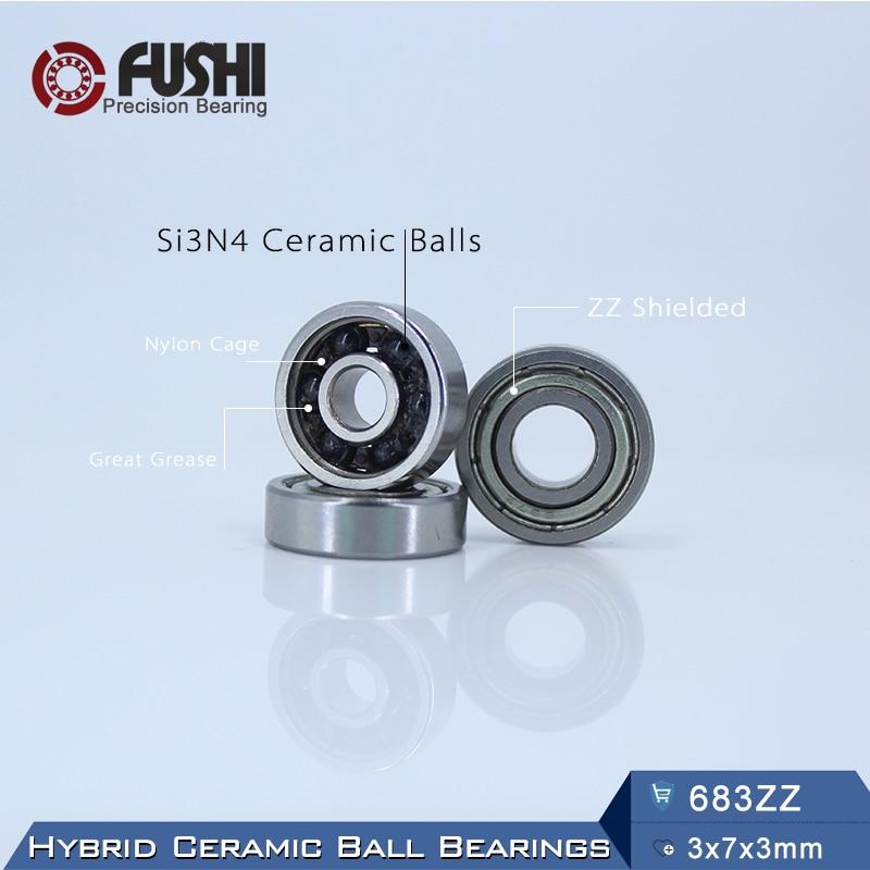 683 Hybrid Ceramic Bearing 3*7*3 mm ABEC-1 ( 1 PC) Industry Motor Spindle 683HC Hybrids Si3N4 Ball Bearings 3NC 683ZZ 1pcs 71901 71901cd p4 7901 12x24x6 mochu thin walled miniature angular contact bearings speed spindle bearings cnc abec 7