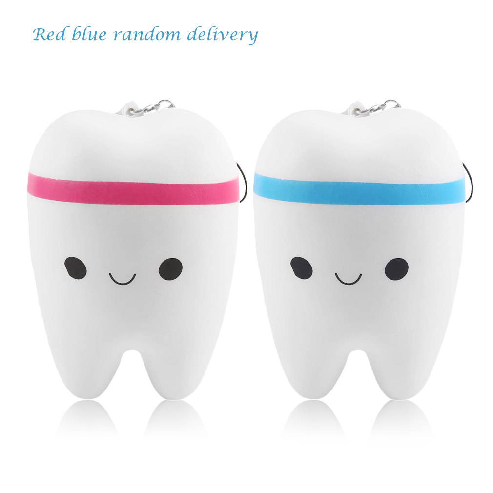OCDAY 11.6cm Upscale Jumbo Squishy Kawaii Fun Adorable Teeth Soft Slow Rising Jumbo Squeeze Cell Phone Strap Pendant Toy Novelty