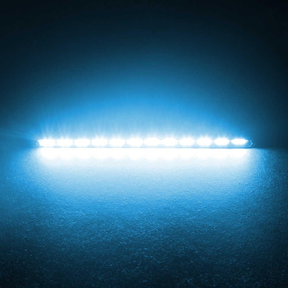 Forauto 2 個smdアルミハウジング 12 led ledストリップ日中走行用ライトdrlデイライト光源 7030 フォグランプ車のスタイリング