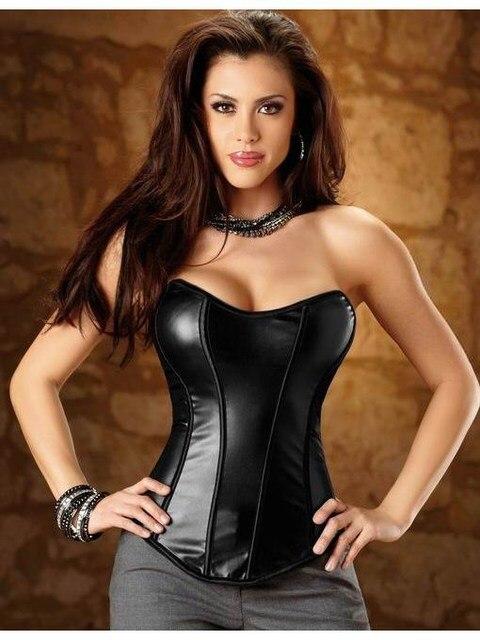 Sexy Women Leather 2015 Fashion Black Shaper Sexy Waist Shaper Corset Bustier Polyvinyl Neckline Side Zip Corset Top W1492