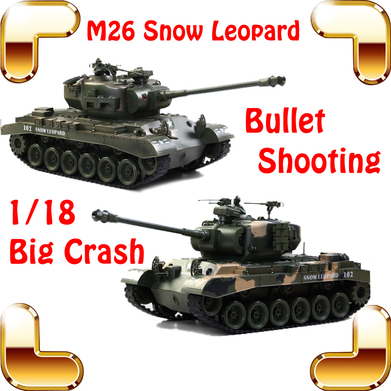 New Coming Gift COLLIDE USA M26 Shooting Tanks 18 CH 1/18 RC Huge Tank Electric Control Bullet Shoot 45 Climbing Vehicle Models