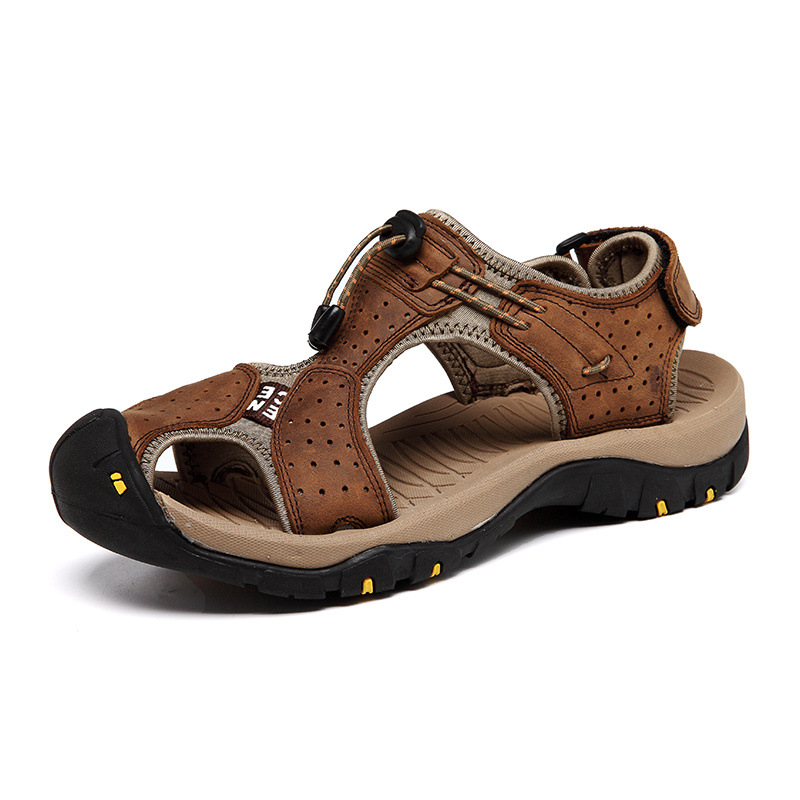 Men Sandals Genuine Leather Cowhide Male Summer Shoes Outdoor Beach Slippers Casual Suede Leather Gladiator Sandals Plus Size 47