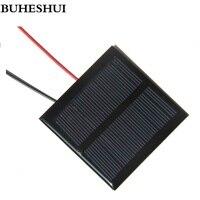 Buheshui 109ma 5.5 v 태양 전지 패널 케이블 diy 태양 전지 모듈 시스템 충전기 3.7 v 배터리 65*65mm 에폭시 다결정 5 pcs