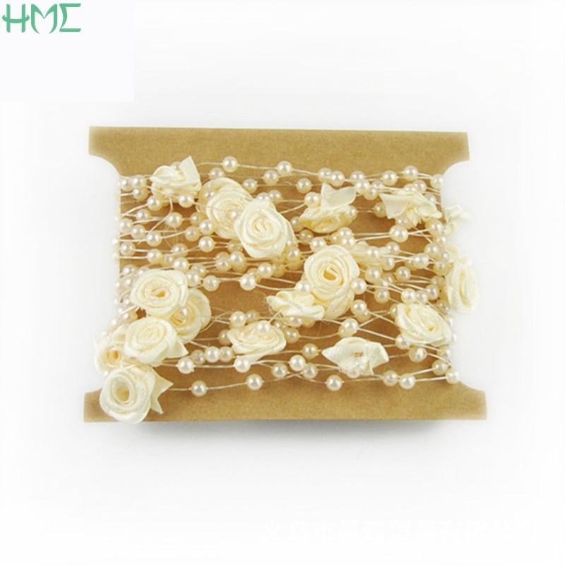Новое поступление Размер 4 мм 5 м/уп. леска искусственная цепочка с жемчужными бусинами для украшения гирлянды свадебные цветы
