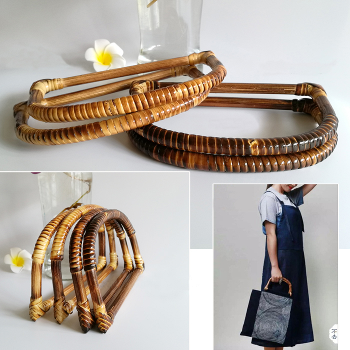 2 Piece Per Lot Handmade Wholesale Rattan Purse Hanger O Bag Handle Diy Handbag Accessories Clasp Fermoir Sac Ratten Handle
