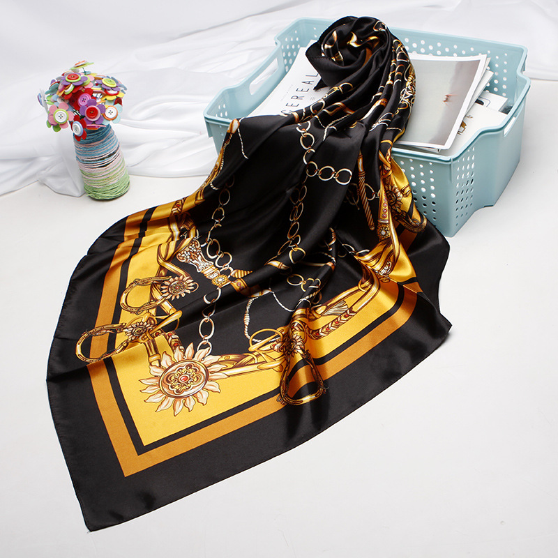 Fashion Hair Scarf For Women Kerchief Black Silk Satin Hijab Scarfs 90cm*90cm Square Shawls Neckerchief Scarves For Ladies 2019