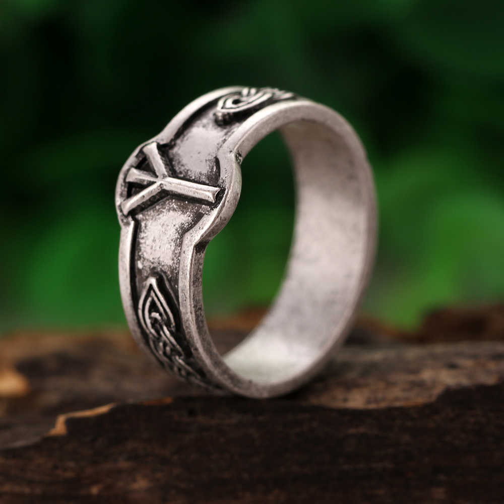 1pc Viking Algiz Z Rune Rings Men women Algiz Symber Signet Runic Ring God rings Anel Bague
