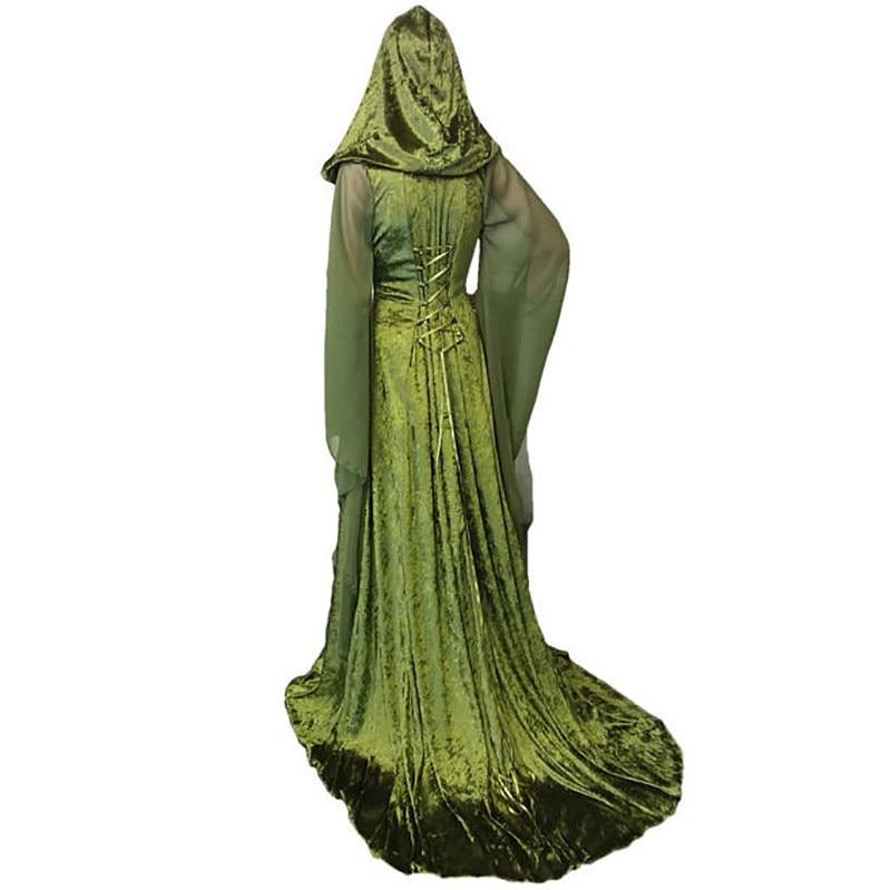 Vintage Maniche Maxi 2018 Velluto Partito Flare Il verde Da Formato Più viola Di Dei Corte Medievale Costume Travestimento Blu Vestito Con Abito Cappuccio Treni Abiti AaOqAZ