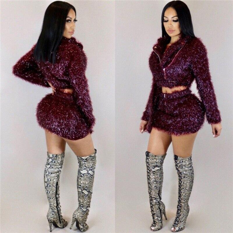 2018 Autumn Winter Fashion Two Piece Set Women Zipper Jacket Crop Top + Mini Skirt Set Sexy Club Night Out Party 2 Piece Outfits