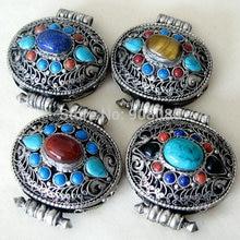 Тибетские Ювелирные изделия TGB128 серебряный овальный тент молитвенная коробка ГАУ амулеты непальский винтажный металлический цветок кулон с шелковыми нитями Тигр eyesturquoise