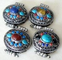 Bijoux tibétain TGB128 argent ovale Tente boîte de prière GAU amulettes Népal vintage en métal fleur de soie pendentif Tigre eyesturquoise