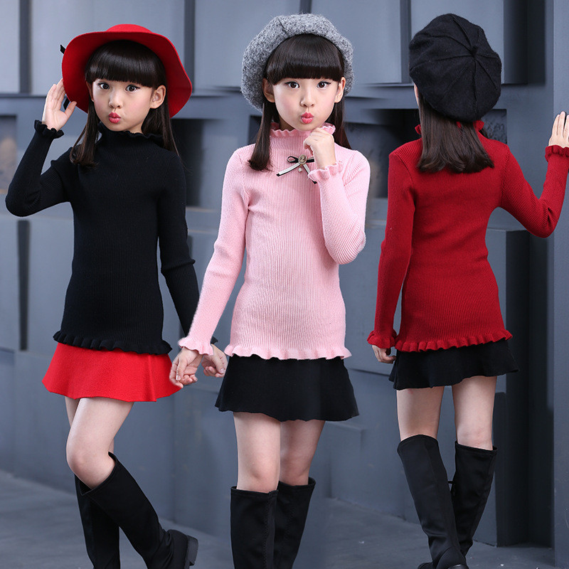 Teenage Girls Sweaters <font><b>Winter</b></font> Autumn Girls Long Sleeve Knitted <font><b>Clothes</b></font> Kids Turn Down Collar Sweater <font><b>For</b></font> Girls 6 <font><b>8</b></font> 10 12 14 <font><b>Year</b></font> image