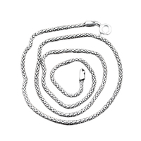 Real Solid 925 Sterling Silver Jewelry Scales Popcorn Chain Necklace For Women And Men Vintage Type