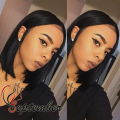 Short Wig Synthetic lace front wig glueless black straight bob hair with baby hair synthetic lace front wig for black women