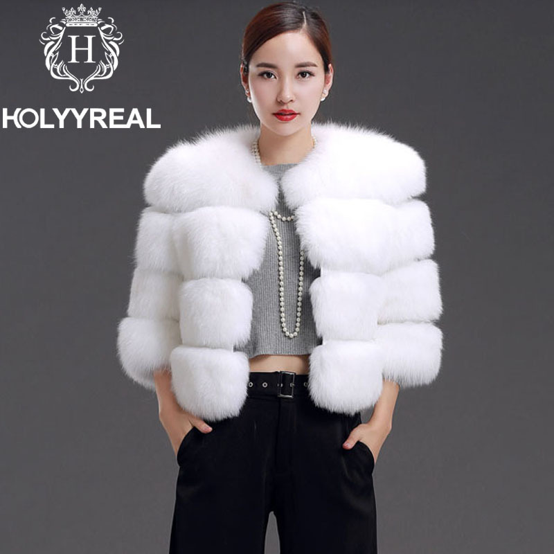 2014 European Style Women Natural Fox Fur Coat Genuine Fox Fur ...