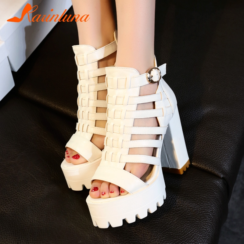 KARINLUNA 2019 New Hot Sale Women Wide Platform Gladiator Sandals Large Size 33 43 High Chunky Heels Women Shoes Woman