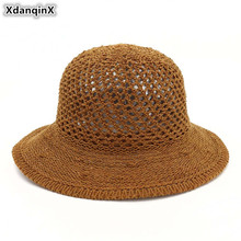 XdanqinX 2019 New Summer Adult Womens Straw Hat Foldable Ladies Sun Hats Eyelet Breathable Dome Sunscreen Beach For Women