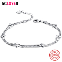лучшая цена 100% 925 Sterling Silver Fashion Women's Jewelry Double Chain Beads Bracelet 19.5cm For Gift Girls Lady Free Shipping