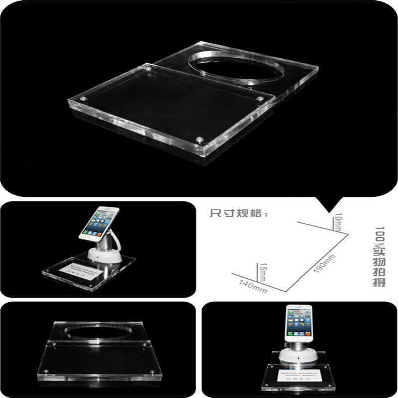 acrylic price tag base security display alarms stand for mobile phone in exhibition clear color solid acrylic phone retail store price label display holder advertising leader stand for iphone mobile phone shop