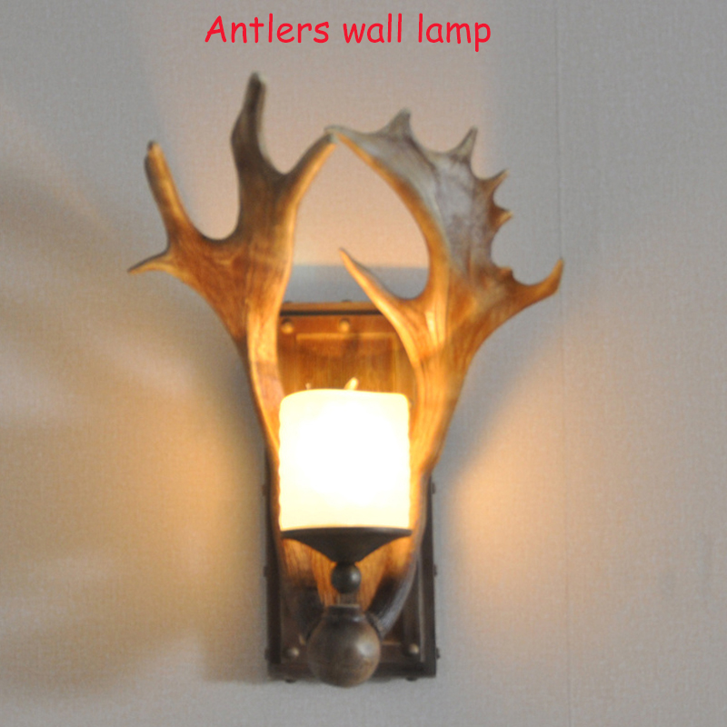 American Country Style Lamp Antlers Wall Lamp Personality Retro Wall Lamp with Resin Material XL035-1W цены