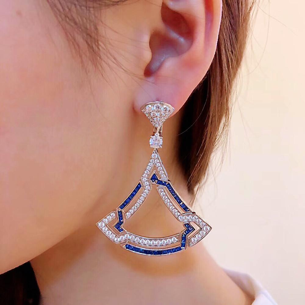 2019 nouveau bijoux de charme de luxe S925 argent sterling longues boucles d'oreilles clouté avec zircon en forme d'éventail gland boucles d'oreilles pour les femmes