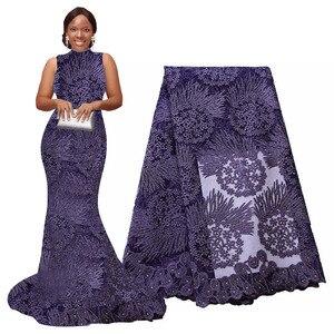 Image 4 - Afrika dantel kumaş 5 metre yüksek kaliteli gipür dantel tül fransız işlemeli örgü dantel kumaş altın beyaz mavi düğün parti