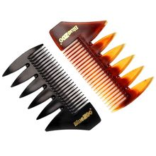 2 In 1 Short Dual Side Tooth Detangling Curly Hair Comb Retro Back Head Styling Beard Oil Men Hairdressing Wide Teeth Comb smith chu curly hair comb wide toothed comb