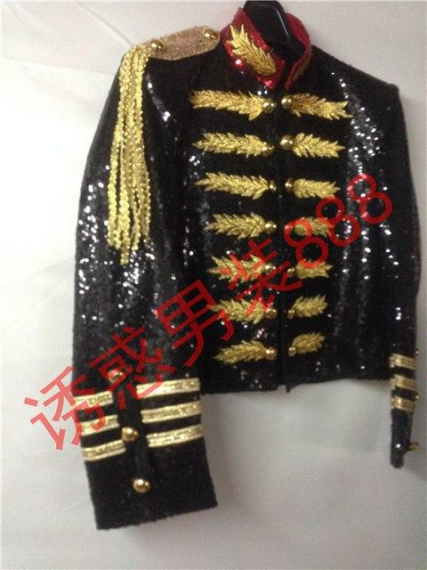 Черный полный блестками золотой вышивкой мужские смокинг/может таможенные размер решений