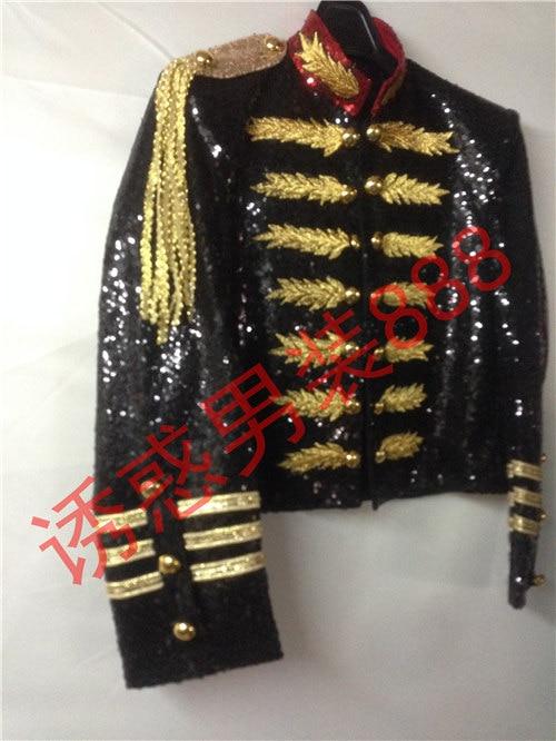 black full sequined golden embroidery font b mens b font tuxedo font b jacket b font