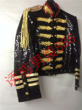black full sequined golden embroidery mens tuxedo jacket can customs size making