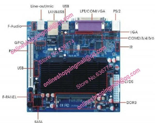 Atom d525 placa-mãe mini-itx industrial 6 com lvds itx-m52x61d novo