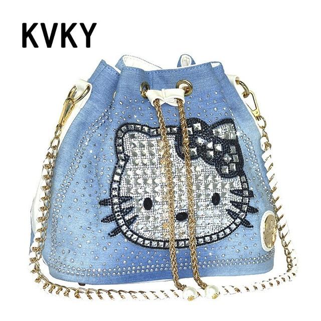 66f1a1138 New Arrival 2017 Brand Bags Hello Kitty Print Multi Colored Diamond Denim Messenger  Bag pearl Bag Leather Women Cowbag Handbags