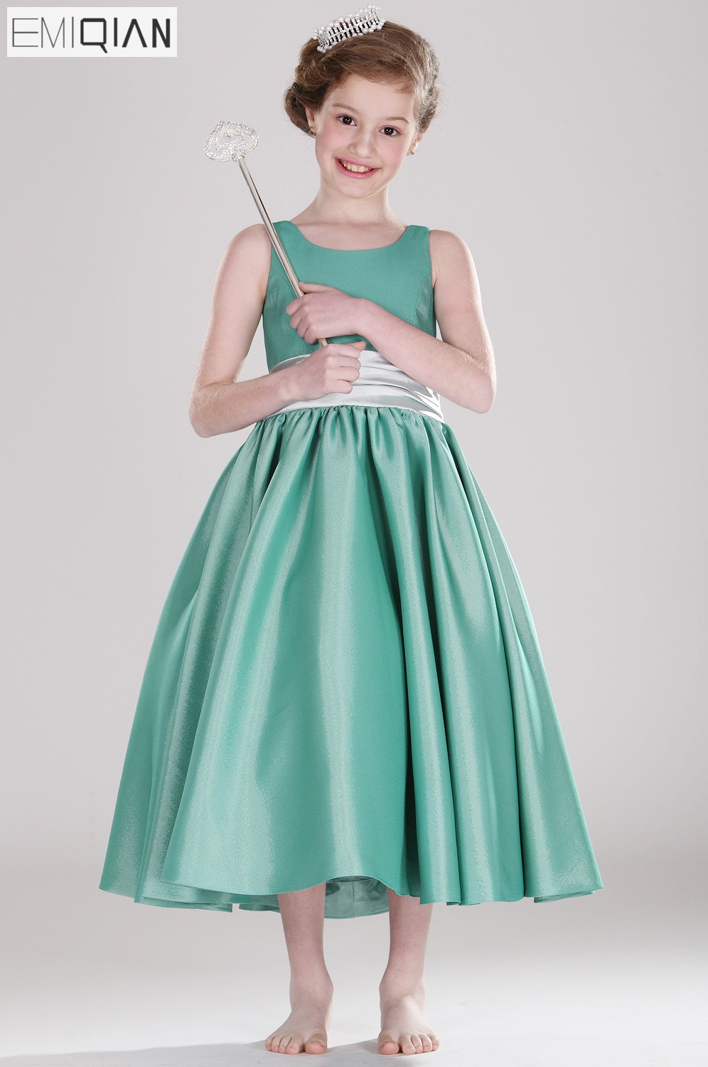 Free shipping New Arrival Cute Ruched Belt With Bow Satin   Flower     Girl     Dress