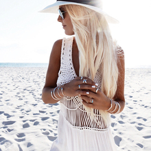 White Sling V-Neck Backless Lace Sleeveless Hollow Out maxi Dresses