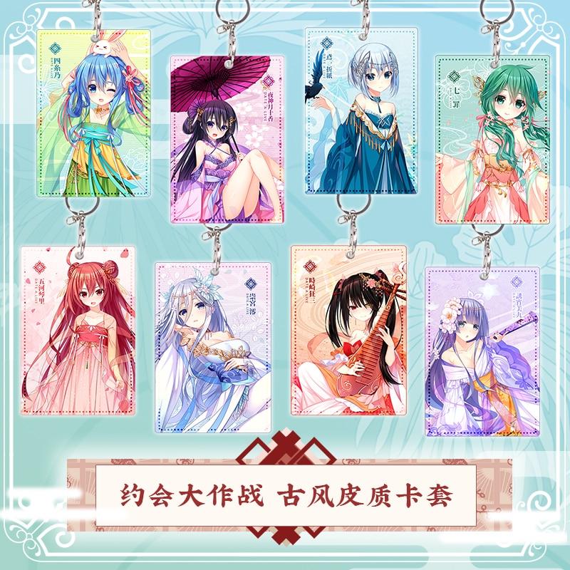 Anime DATE A LIVE Tokisaki Kurumi Itsuka Kotori Cute PU Cards Holder Student Keychain Bag's Pendant Cosplay Xmas Gifts