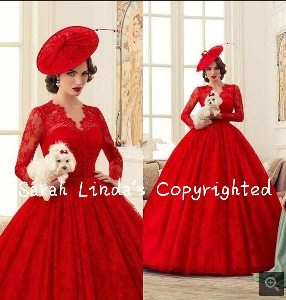 Viktorianischen Rote Spitze Mit Langen Ärmeln Brautkleider Ballkleid ...