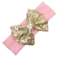 Hot Best Gift For Child Fashion Elastic Children Headband Cute Sequins Bow Baby Girl Hair Accessories New Wholesale